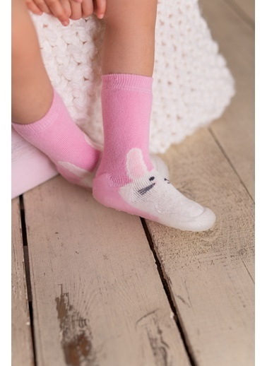 Nou Nou Tavşanlı Kaydırmaz Taban Çorap Panduf Pembe